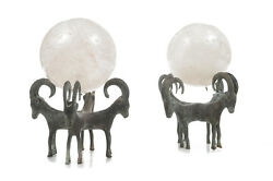 Pair Of Antique Rock Crystal Globes Supported By Bronze Rams Stands