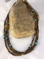 Native American Sterling Silver Tigers Eye Necklace Turquoise 22 S353