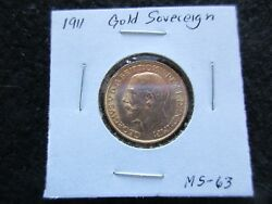 1911 Gold Sovereign Coin, British, Selling As Ungraded     Day-02766
