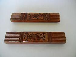 Pair Of Antique Chinese Carved Wooden Thread Spools Or Cake Mold W.calligraphy