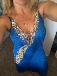 Lenique Rhythm Latin Fringe Competition Dress 4-12.andnbsp Blue And Silver Sparkle