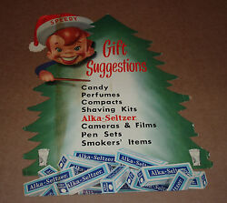 1950's Speedy Alka-seltzer Christmas Store Display Sign Advertising Character