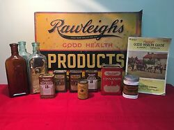Rawleigh's Advertising Sign Spices Baking Powder And Mustard Tin And Bottles