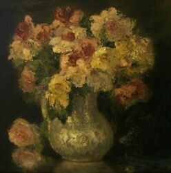 Marcel Dyf Pivoines Flowers Antique Signed Oil Painting On Board Dated 1938