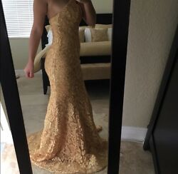 Size 4 Gold Evening Gown Prom Dress $220.00