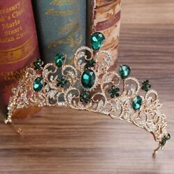 Queenand039s Crown Tiara Crystal Diamonds Emeralds Womenand039s Beauty Pageant Diadem Gold