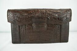 New Parker Ochs Designs Genuine Crocodile Brown Envelope Clutch Bag Hand Made