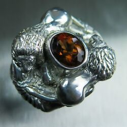 3.3cts Natural Imperial Champagne 925 silver 9ct 14k 18k Gold Lions Unisex ring