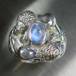 3.6ct Natural Rainbow Moonstone 925 silver  9ct 14k 18k Gold Lions unisex ring