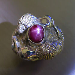 6.6ct Natural Ruby red ray star 925 silver Gold Platinum unisex lions ring