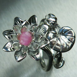 2 Ring Natural Rare Pezzottaite 925 Silver Gold Waterlily Stackable Engagement
