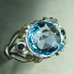 Natural Swiss Blue Topaz And Sapphires 925 Silver 9ct 14k 18k Gold Platinum Ring