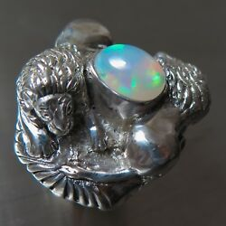 1.8cts Natural Multi-colour Welo Opal 925 silver Gold Lion unisex ring