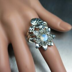 2pcs Natural Moonstone 925 Silver Gold Water Lily Stackable Engagement Ring