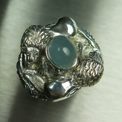 5.9ct Natural Cats eye Aquamarine 925 silver 9ct 14k 18k Gold lions unisex ring