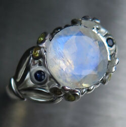 3.1ct Natural Blue Rainbow Moonstone 925 Silver 9ct 14k 18k Gold Engagement Ring