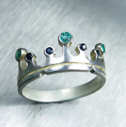 Natural Emerald And Sapphire Gold / Platinum Engagement Wedding Crown Band Ring