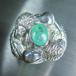 3.2ct Natural Paraiba blue tourmaline 925 Silver Gold Platinum lions unisex ring