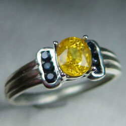 Natural Sunny Yellow Sapphire 925 Silver 9ct 14k 18k Gold Platinum Ring