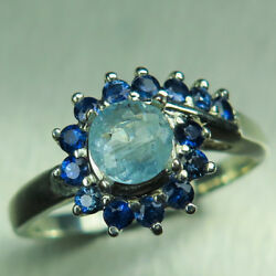0.55ct Natural Blue Afghanite And Sapphires 925 Silver /14k 18k Gold Platinum Ring