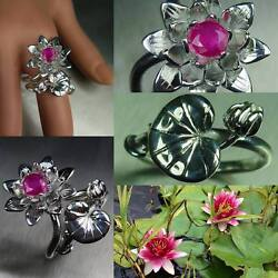 Natural Ruby 925 Silver Gold Water Lily Stackable Wedding Engagement Two Rings