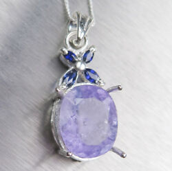 Natural Purple Apatite Andsapphires 9ct 14k 18k Yellow White Gold Pendant And Chain