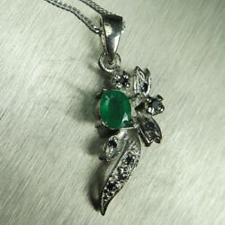 Natural Emerald And Sapphires 9ct 14k 18k Yellow White Gold Pendant With Chain