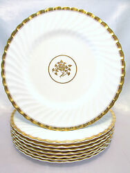 Minton Gold Rose 4 Dinner Plates 10 5/8 Swirled Edge And Gold Trim Discontinued