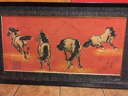 Chinese antique wood board painting 四馬圖