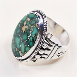 Sz9 Antique Navajo Sterling 925 Silver Edison Sandy Smith Bisbee Turquoise Ring