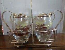Andnbspvintage Libby Glass Pitchers With Carrying Caddie Creamer Syrup Coffee Barandnbsp