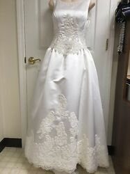 Eve of Milady Designer Wedding dress  Size 6 Huge Long tail Lace Pearls $7990