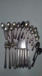 25 Pieces Wm Rogers Overlaid Xii Is Silverplate Flatware Vintage Set Old Lot