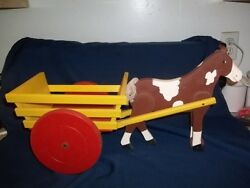 Vintage Wooden Pull Toy Painted Hobby Horse Pulling Yellow Cart W/red Wheels