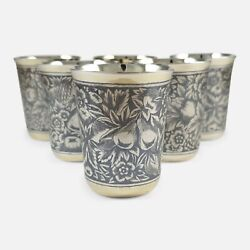 Set Of Six Russian Silver Gilt And Niello Beaker Cups