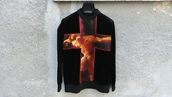 1385 Givenchy Velvet Satin Cross Fauno Print Relaxed Fit Bambi Sweater Size Xs
