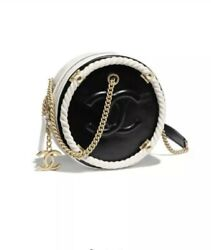 Chanel Small Round Bag Black White Ladies Designer Authentic