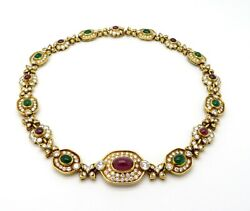 Designer Cartier 18K Yellow Gold Emerald Ruby and Diamond Choker Necklace
