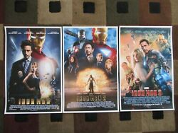 Iron Man 1,2 And 3 11 X 17 Movie Collector's Poster Prints Set Of 3