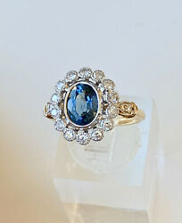 Natural Sapphire And Diamond Dress Ring With Art Deco Styling And Valuation 9470