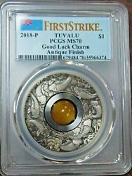 2018-p 1 Tuvalu Good Luck Charm .9999 Silver Antiqued Coin Pcgs Ms70 Fs