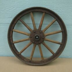 Car Wheel Vintage Metal And Wood Delivery Possibility 1900's Antique Wood Spokes