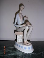 Unique Lladro Man With Heart 4600 Retire 1972 With Musical Box16tall Figurine