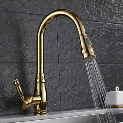 Polished Gold Kitchen Pull Out Spray Sink Faucet One Handle Swivel Mixer Tap
