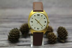Serviced Rare Soviet Poljot Gold Plated Au10 Mens Watch. Dial Gilded Numbers