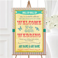 Vintage Carnival Old Style Circus Stripes Personalised Welcome Wedding Sign
