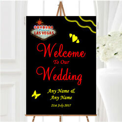 Las Vegas Sign Fabulous Personalised Any Wording Welcome To Our Wedding Sign
