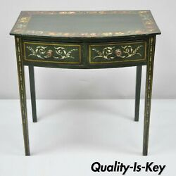 19th C Green Adams Flower Painted Victorian 2 Drawer Demilune Hall Console Table