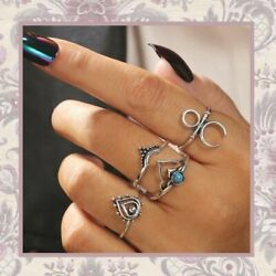 New 4pc Silver Teal Midi Rings Boho Set Teal Om Tribal Turquoise Gypsy Moon Chic