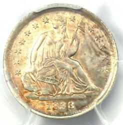1838 Seated Liberty Half Dime H10c Large Stars - Pcgs Uncirculated Unc Ms
